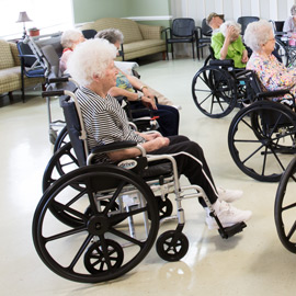 Nursing home residents enjoying activity